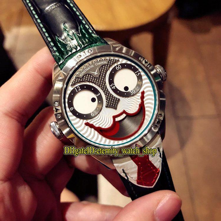 Versão atualizada Konstantin Chaykin Joker Criatividade única Green Inner Joker Dial NH35A Automático Mens Relógios Correia De Couro Caixa De Prata