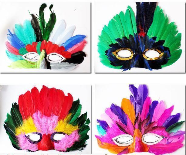50PCS más nuevas mujeres máscara de plumas de bricolaje partido atractivo dama de Halloween del carnaval del carnaval colorido de plumas de pollo máscaras de Venecia