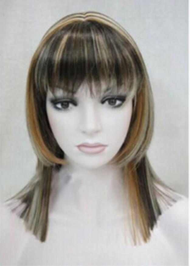 wigfree الشحن أزياء جميلة مركز فراق هامش كانيكالون منتصف طويل مستقيم المرأة الباروكة