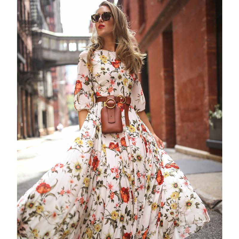 Frauen Maxi Boho Kleid Blumen Sommer Strand Cocktail Party Print lange Sommerkleid Mode halbe Hülse nicht enthalten Gürtel Kleider