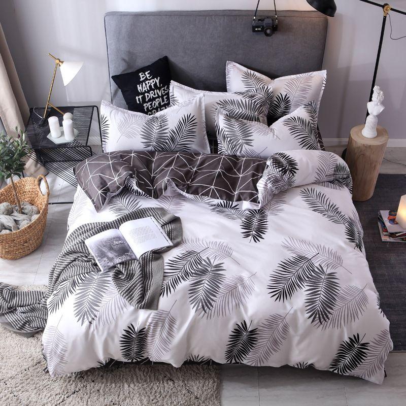 Solid Color Bedding Set Cotton Sanding Double Spell 4pcs Bed Sets Bedclothes Duvet Cover Sheets Pillowcase Comfortable Coverings