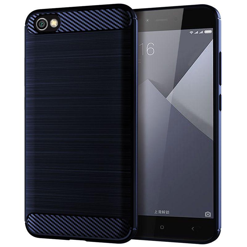 Redmi Not 5A Koruyucu Arka Tampon Kapak Yumuşak Silikon Kılıf Darbeye Gömme Karbon Elyaf TPU Telefon Kapak