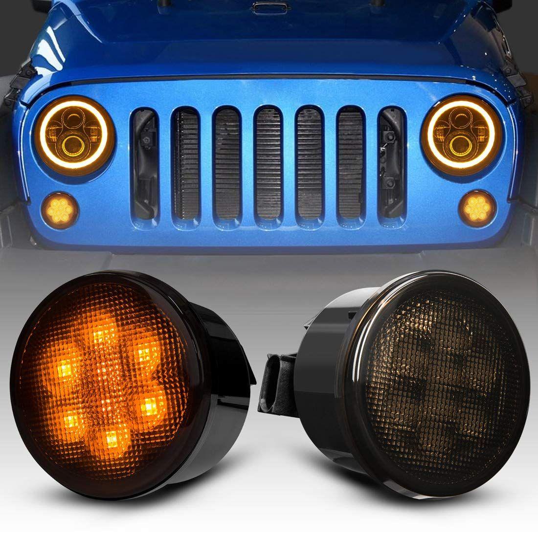 Ahumado a su vez condujo semáforos de lentes para 2007-2018 Jeep Wrangler JK Indicador JKU Frente Parrilla Plaza de bengalas guardabarros del lado Blinker luces marcadoras