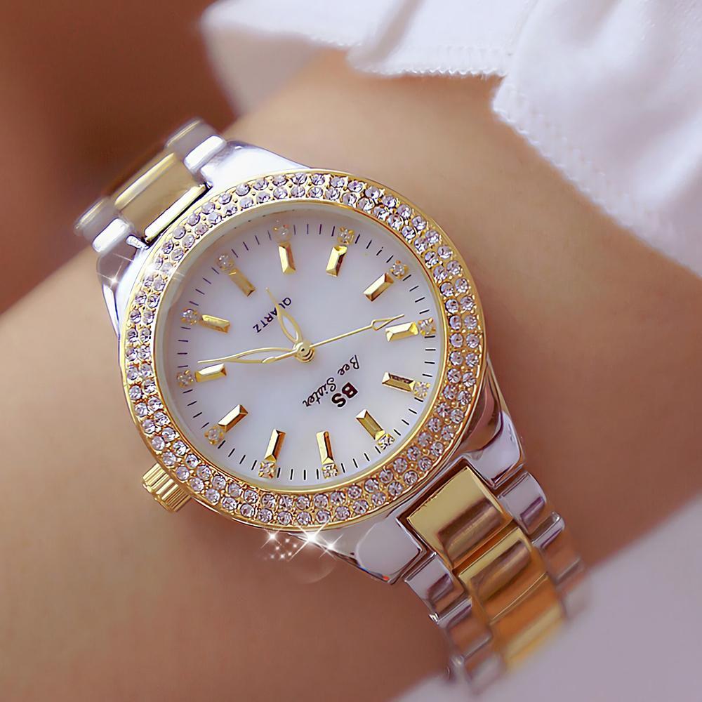 2019 damen armbanduhren kleid gold uhr frauen kristall diamant uhren edelstahl silber uhr frauen montre femme 2018 y19051503