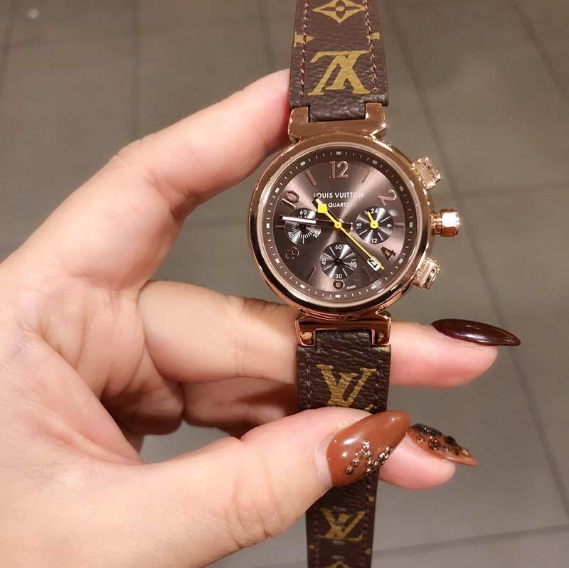 Hot Womens pulseira de couro caixa do relógio de luxo movimento de quartzo de luxo estilo clássico de aço inoxidável profunda impermeável com caixa 26