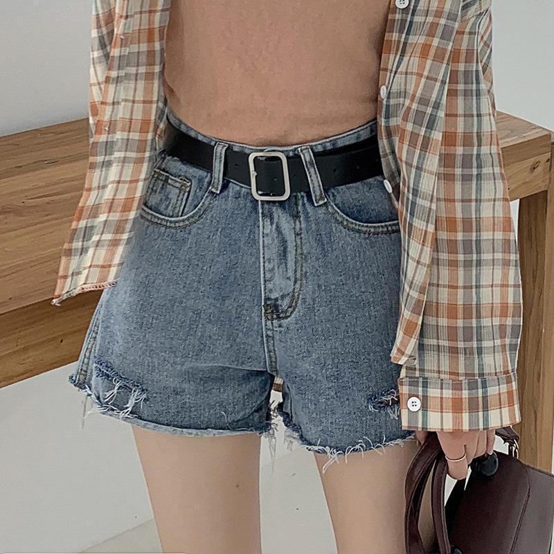 Washedworn e desgastadas cintura alta Denim Shorts por Mulheres 2020 New Verão solto e Thin A-shaped calças perna larga quentes para Mulheres