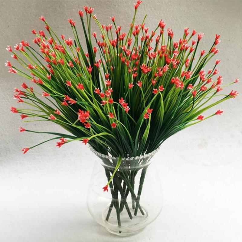 7-fork Yeşil Yapay Çim Bitkiler Plastik Yapay Çiçekler Ev Ofis Büro Dekoratif Parti Dekorları Bitkiler 5 Renkler C19041302 Bırakır