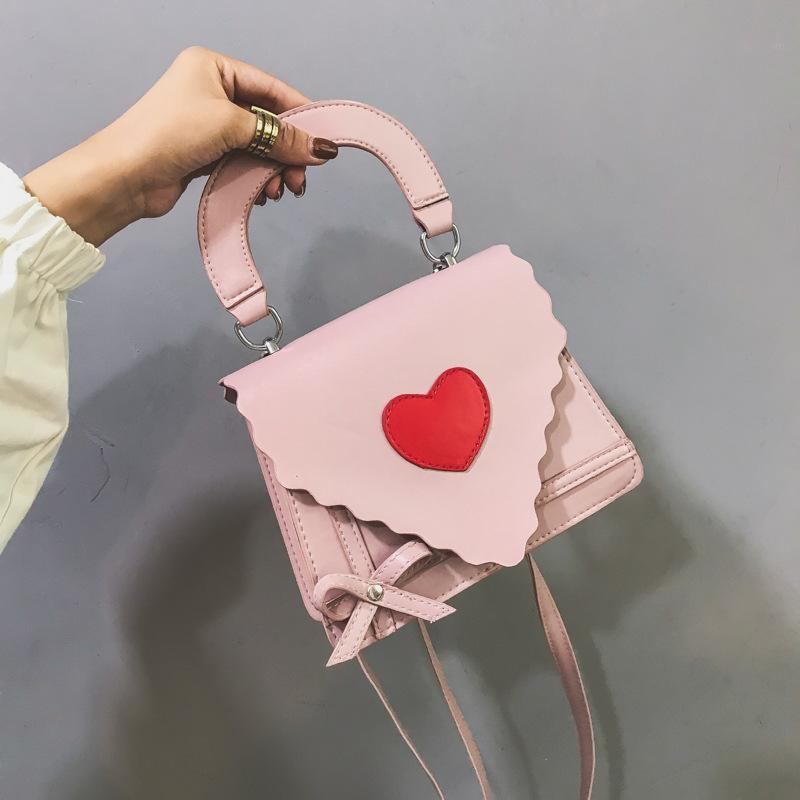Lucky2019 Ins Peach Exceed Fire Lace Portable Bag Heart-shaped Small Square Single Shoulder Span Fairy Package