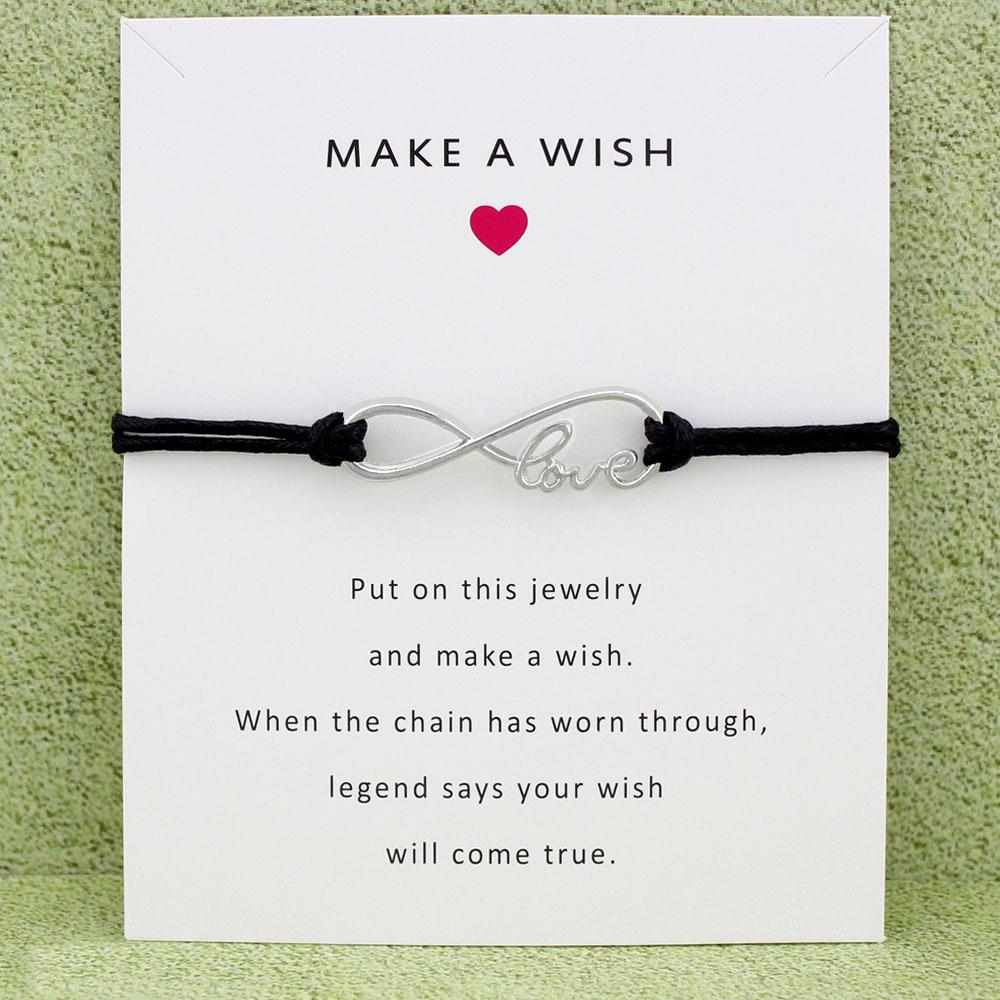 Infinity Love Moon Heart Antique Silver Charm Card Bracelets Black Wax Cord Women Men Girl Boy Jewelry Gift Many Styles Custom