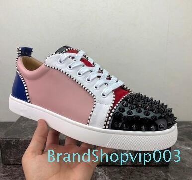 Spikes Red Bottom Designer Flat Casual Shoes Men Women Low Top Red Sole Studded Blue Black Studs Rivet Male Shoes sneakers yyy13