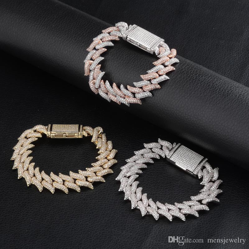 Luxo Designer Jóias Mens Pulseiras 16mm Hip Hop Icado fora Chain Chain Chain Bangle Bling Diamante Tênis Charme Pulseira Moda Rapper Gold
