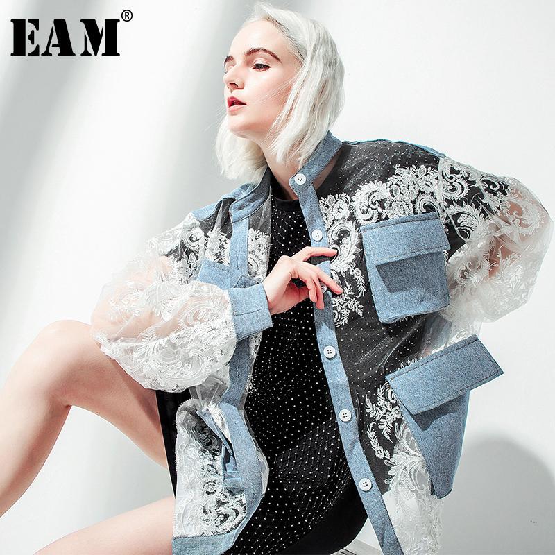 [EAM] stand 2019 Nuovo Autunno Inverno colletto a maniche lunghe blu Denim Pizzo unito spaccato di grande formato del rivestimento delle donne del cappotto marea moda JU301MX190929
