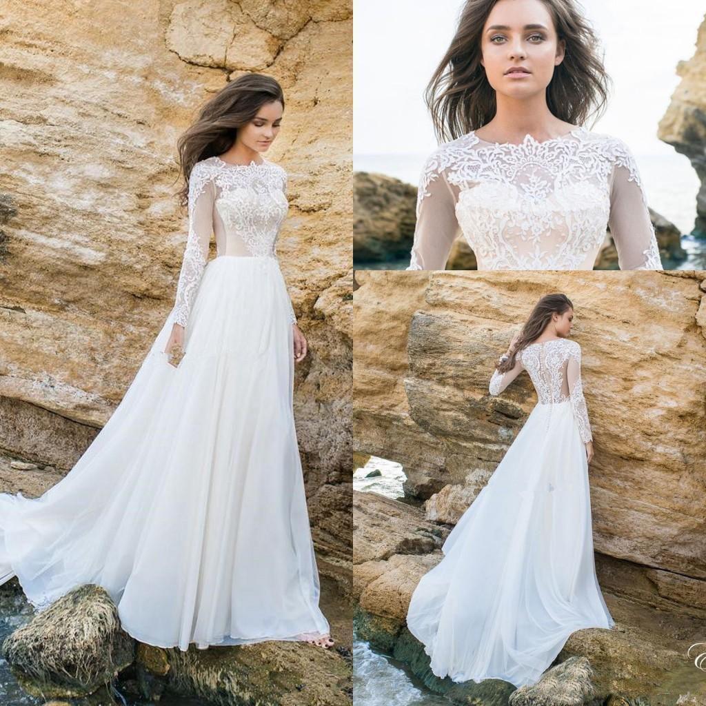 Una línea Beach Boho Vestidos de novia 2019 Sheer Cuello Mangas largas Apliques de encaje Chiffon Barato Vestidos nupciales Bohemia Vestido de novia Más Tamaño
