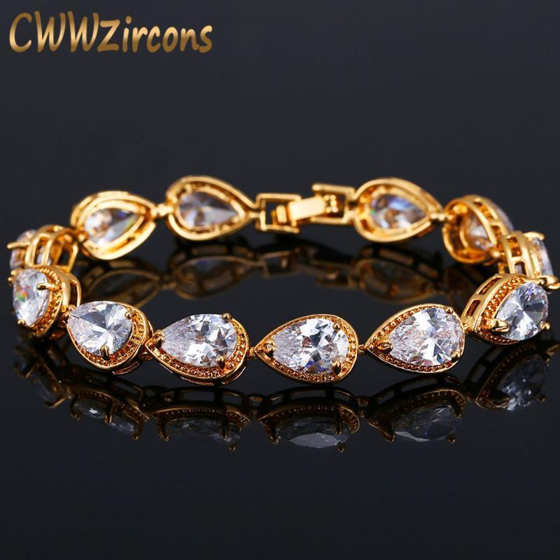 CWWZircons Diamante Bijoux Couleur Or Pear Cut Zircon Bracelet de mariée pour les femmes CB154