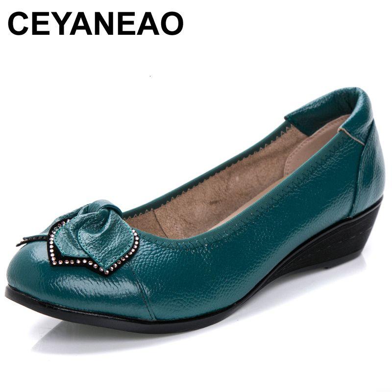 CEYANEAO Yeni Yaz Kadın Gerçek Deri Ayakkabı Rahat Toka Flats Hemşire Casual El yapımı bale flatsC043 LY191129 girintiler