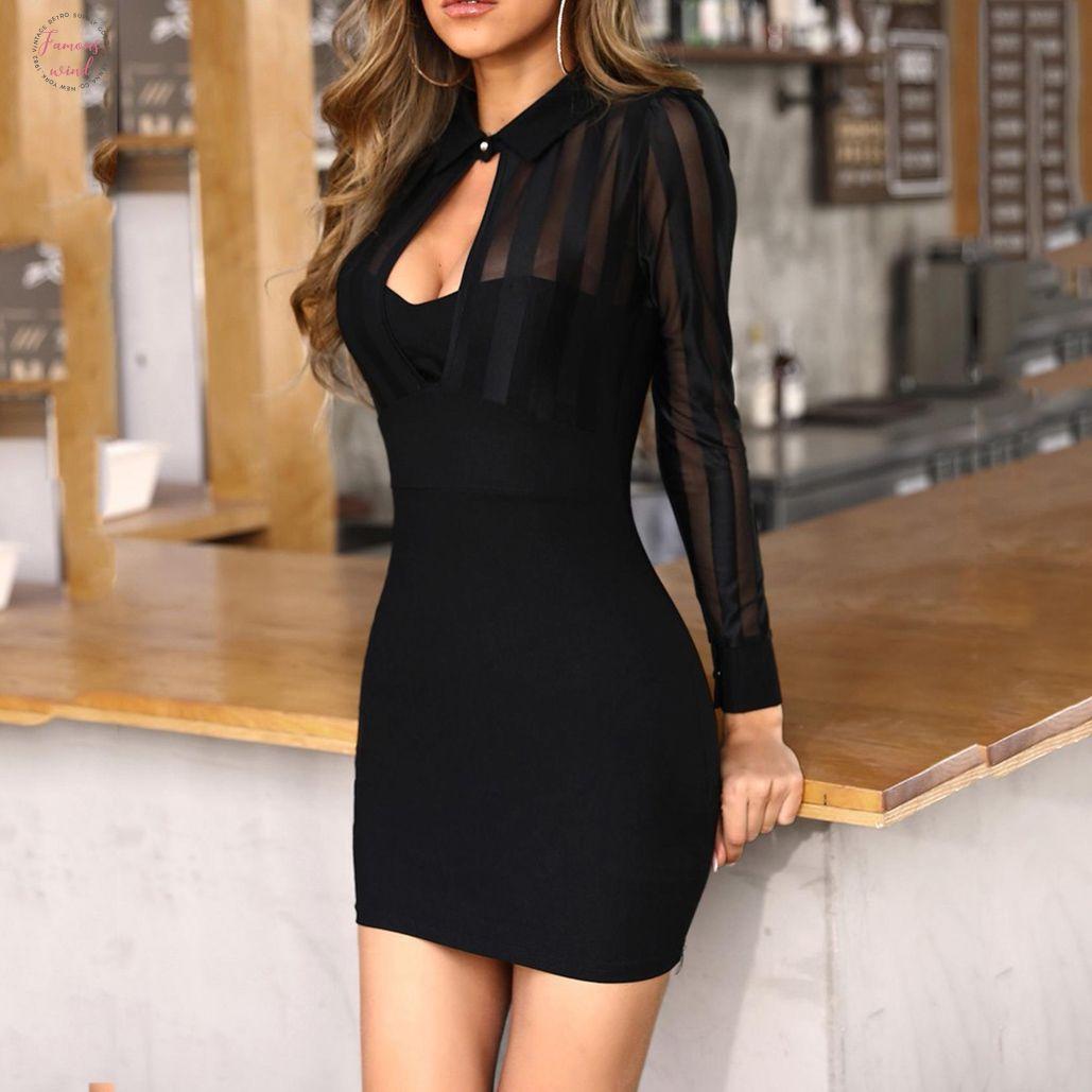 Sheer vestido de trabajo mujer de manga larga a rayas de malla remiendo vestido bodycon Oficina sólido asimétrico del cuello vestidos casuales sukienki