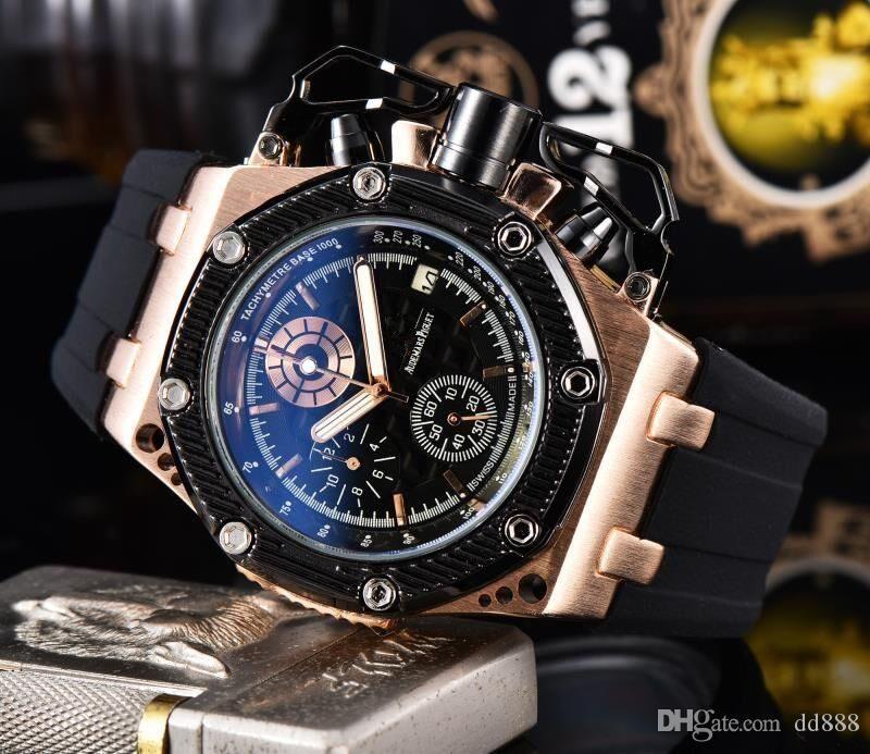 Tüm Subdials Çalışma İZLE Mens womenES Paslanmaz Çelik Kuvars saatı Kronometre erkekler için İzle En relogies İyi Hediye Relojes izle
