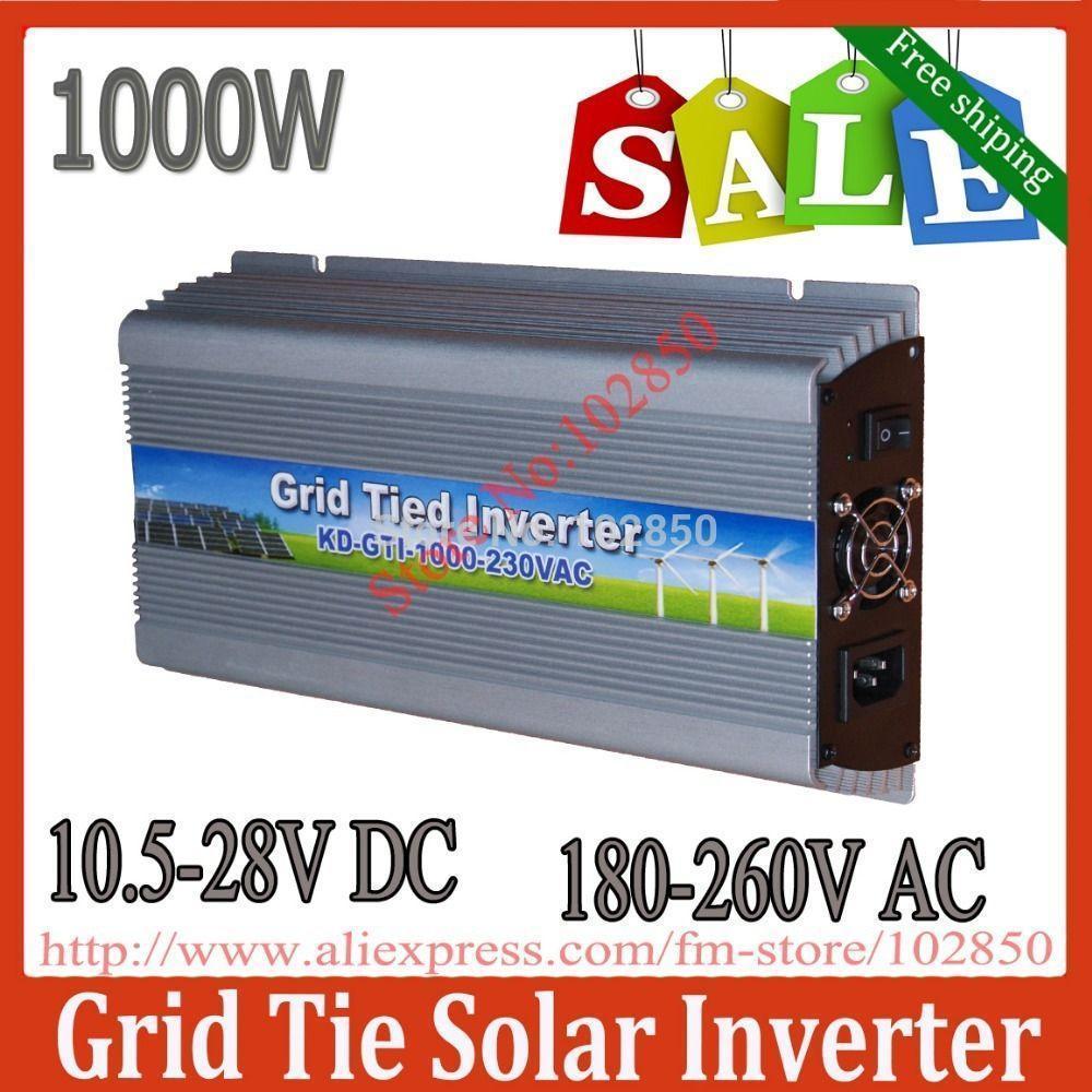 Freeshipping Sale!1000W MPPTpure sine wave solar inverter,10.5-28V DC,180-260V AC,Solar grid tie inverter,CE,