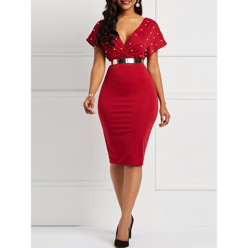 Las mujeres atractivas Midi vestidos casual elegante 2018 Summer Rojo ajustado de Llano de bolas femeninas de la manera del partido del club Negro Otoño vestido blanco