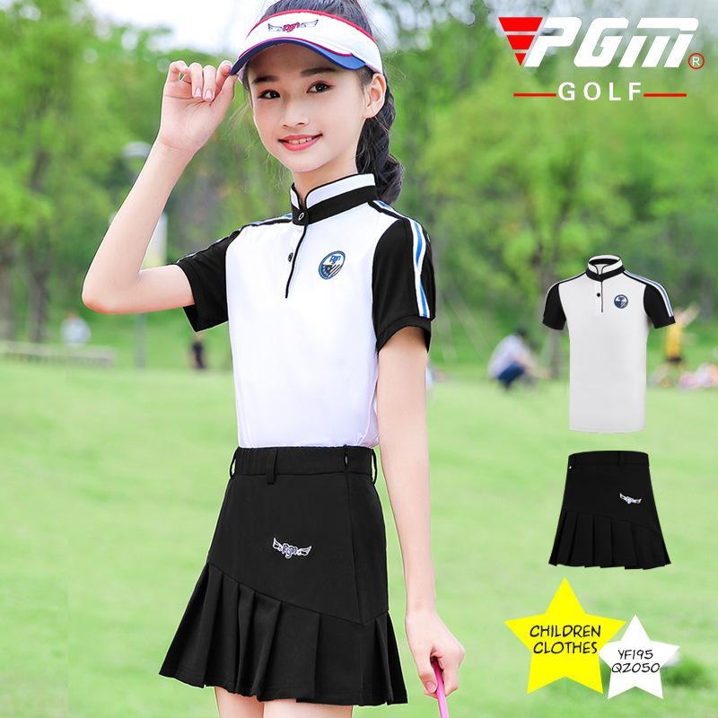 PGM Filles Respirant Sport Golf Jupes Ensemble chemise à manches courtes Jupe plissée enfants filles Vêtements de golf confortable D0787