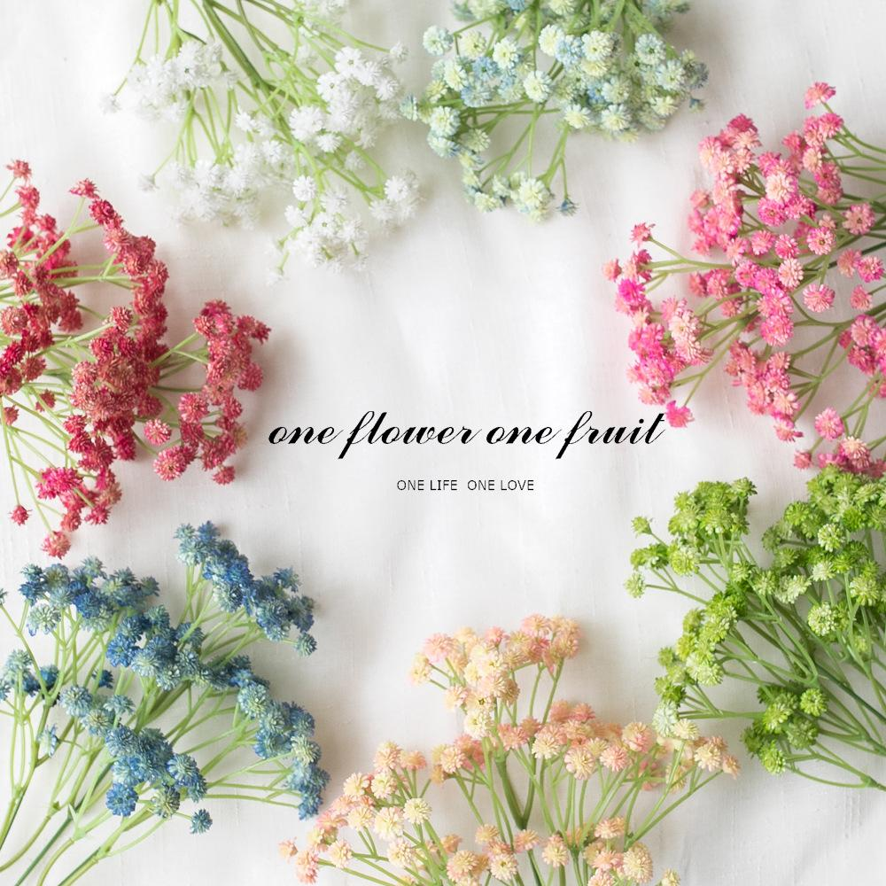 65cm 3branches Real Touch Artificial Baby Breath Big Size Wreath Flower PU Decor for Wedding Home Table Party Christmas Gift Fake Flowers