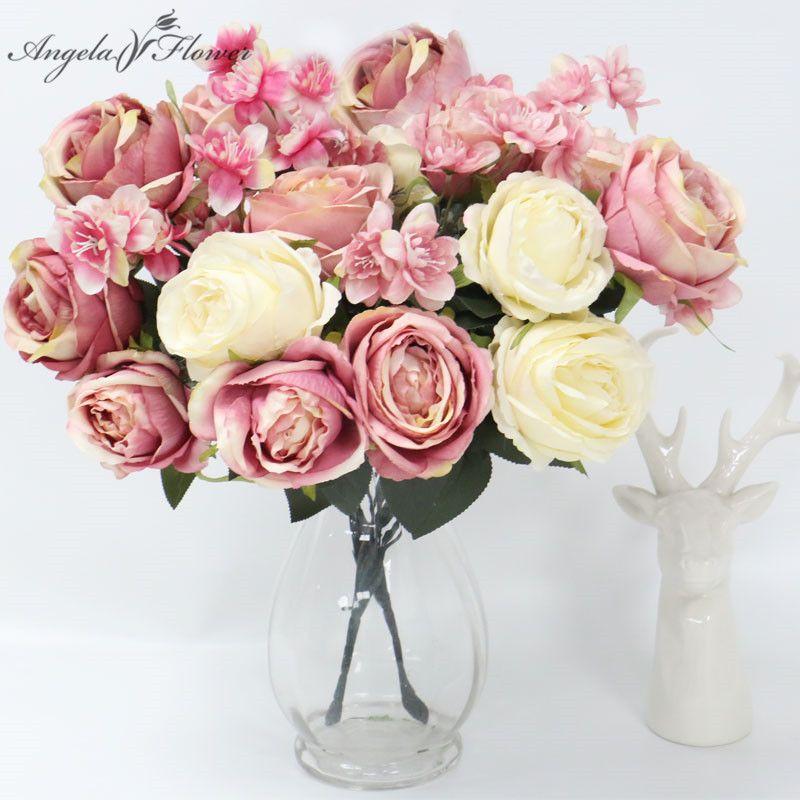12 cabezas de rosas flor artificial fondo de la boda flor de pared arreglo de mesa decoración hogar ramo de novia de flores peonías rosa