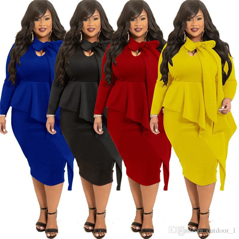 Женщины Плюс Размер XL-5XL Повседневный Midi платья осень-зима Одежда Сплошной цвет Bowknot с длинным рукавом тощий платья партии способа продажи 1901 года