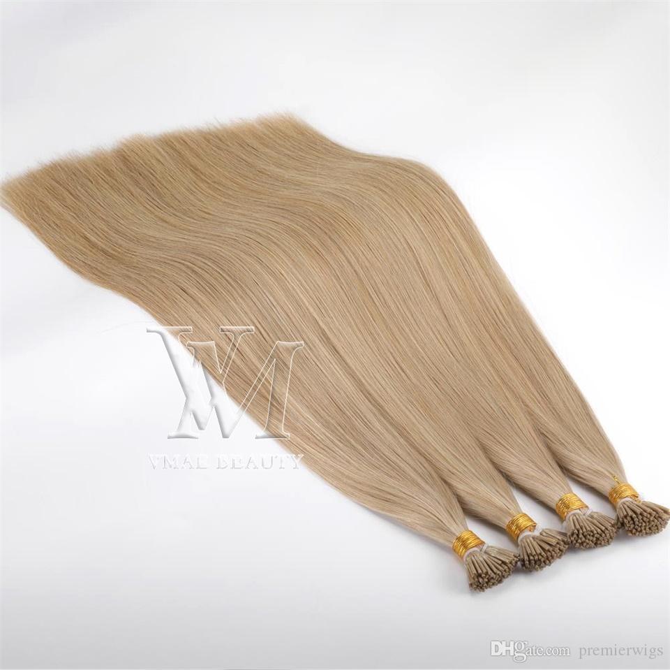 Wholesale Brazilian European I tip Human 1g/ strand 50g Double Drawn Pre-bonded Virgin Remy Human Straight Keratin Hair Extensions