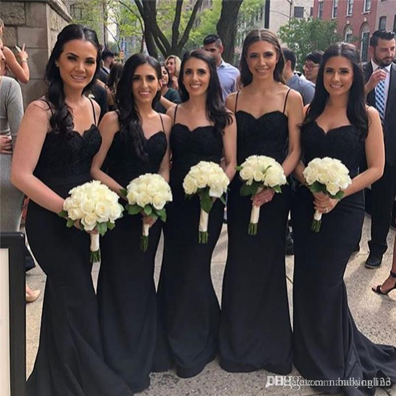 Sexy Cheap Black Mermaid Bridesmaids Dress Spagehtti Strap Backless Appliques Top Long Maid Of Honor Wedding Guest Custom Made