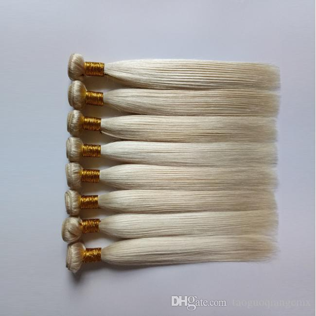 Brazilian Virgin Glattes Haar Weave Die Art und Weise sexy 3 4 5Bundles Mongolisch Russisch 613 # Blonde Farbe menschliche Remy Haar-Einschlagverlängerungen