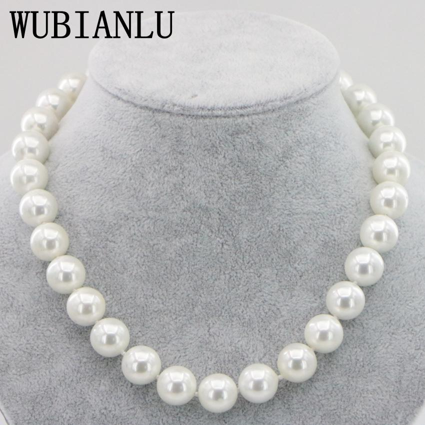 Wubianlu 14 ملليمتر أسود أبيض البحر جنوب شل بيرل قلادة 18 بوصة المغناطيسي الإبزيم أزياء المرأة القلائد مجوهرات T190626