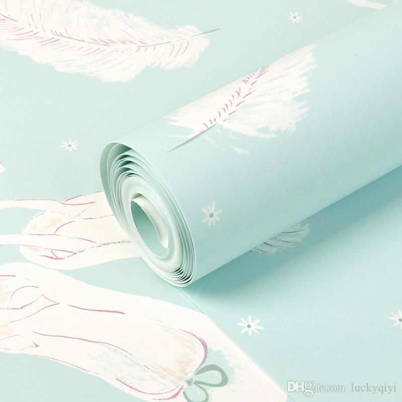 고품질 한국어 부직포 따뜻한 분홍색 벽지 소녀 룸 발레 신발 깃털 나비 침실 TV 배경 어린이 방 벽지