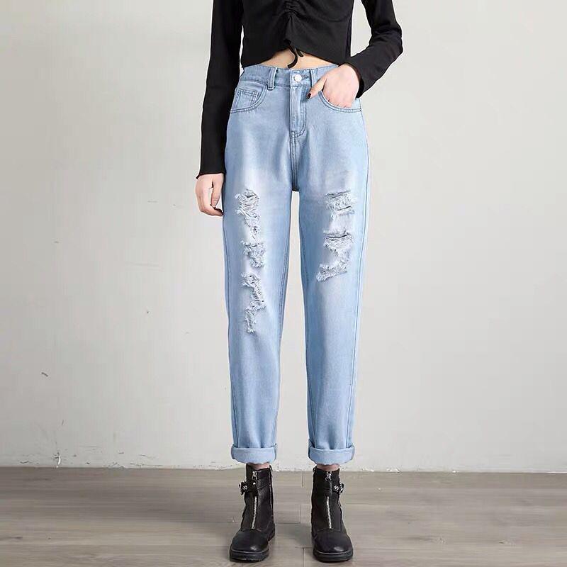 Plus Size zerrissene Jeans-Frau mit hohen Taille Freund Harem Jeans für Frauen Blau Schwarz Weiß Denim Mom-Hosen-Hose