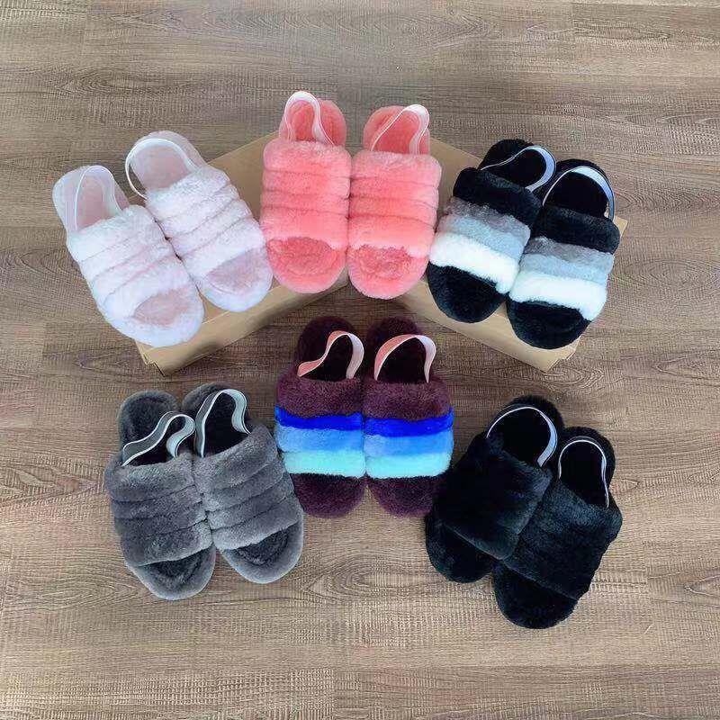 Mode Explosion Modelle der neuen Frauen mit flachen flachen Wolle Pantoffeln pelzigen Eindruck Kirschpulver ja Schneeschuhe Samt Sandalen kühlen