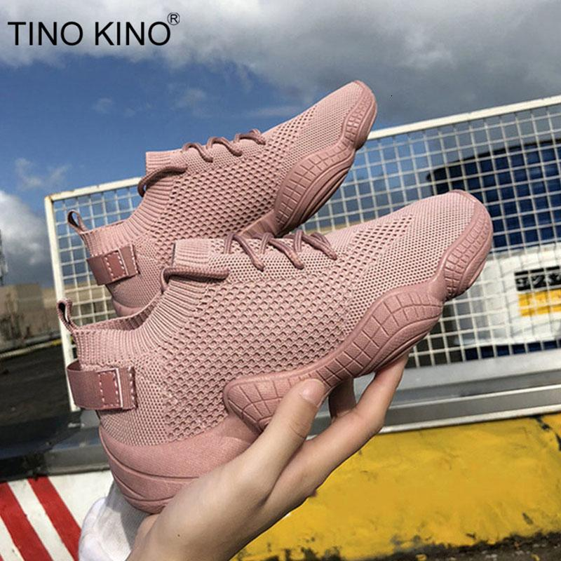 Sneakers Women Mesh Flat Autumn Ladies Lace Up Stretch Fabric Platform Vulcanized Casual Shoes Female Breathable Fashion SH190928