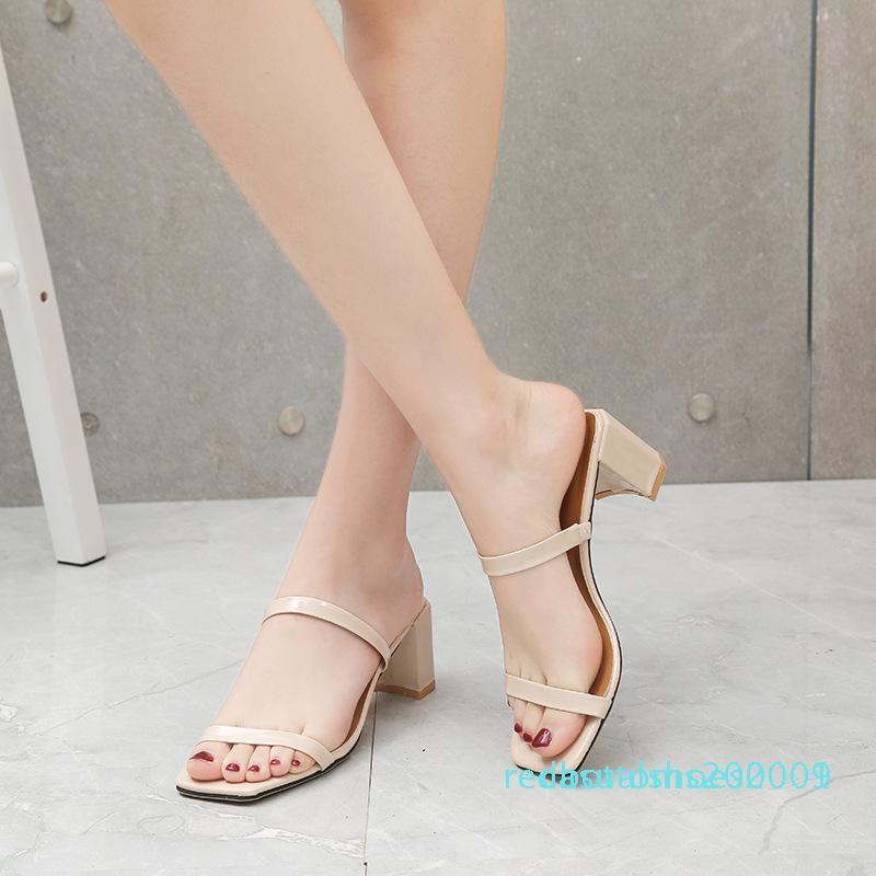 Kalın topuk basit Yüksek topuklu Yeni bir retro 2020 yaz kare kafa moda kelimesi vahşi sandalet kadın terlik r01