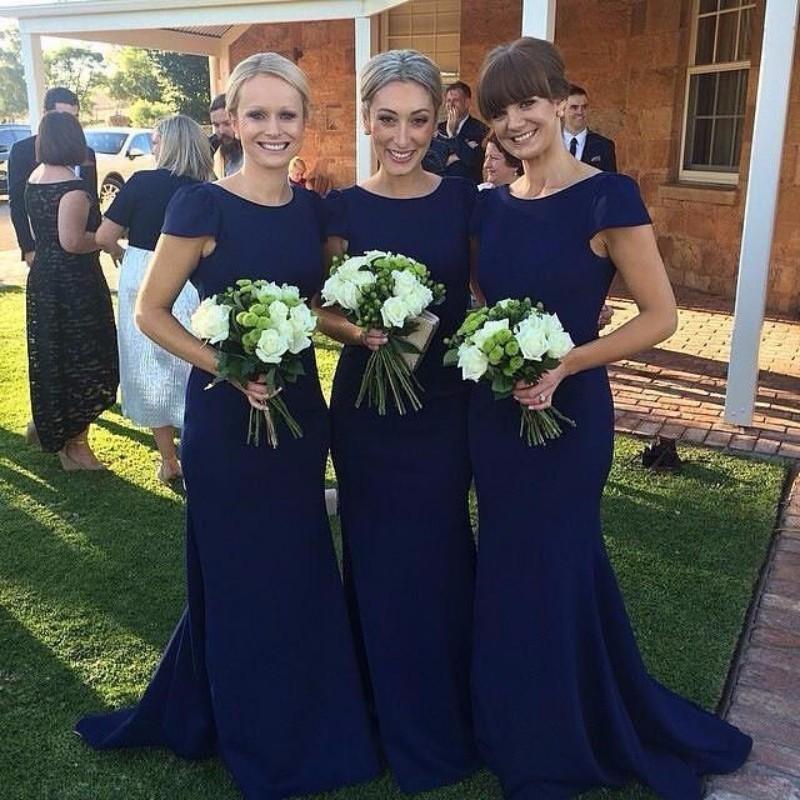 Short Cap Sleeves Dark Navy Brautjungfernkleider 2017 Mermaid Jewel Ausschnitt Sweep Zug Mädchen der Ehren Gruppen Kleider Hochzeit Gast Party Kleider