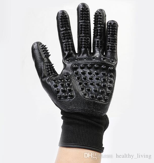 Pet Grooming Gloves Dog Cat Hair Cleaning Brush Comb Black Rubber Five Fingers Deshedding Pet Gloves For Dog Cats Animals 111