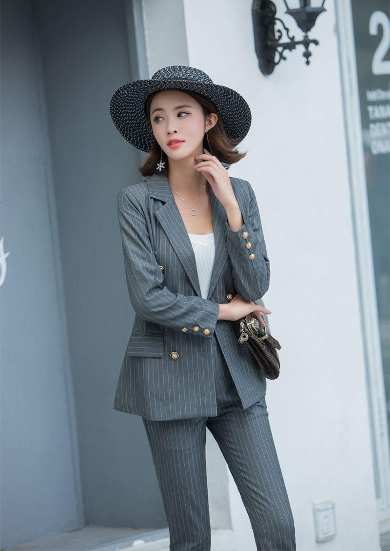 Frauen gestreifte Hose paßt Büro-Dame Uniform Rivet Jacke Blazer mit hohen Taille knöchellangen Hose Femme Outfit Terno Feminino