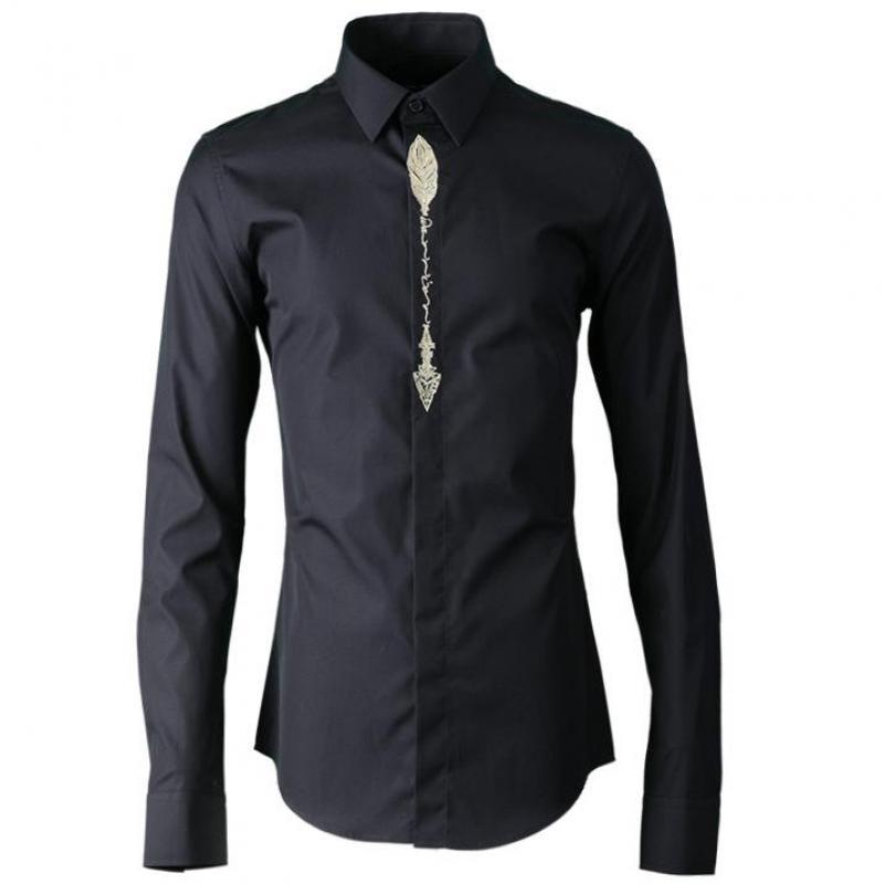 Minglu Mens Shirts Luxury Gothic Embroidery Long Sleeve Mens Dress Shirts Plus Size 4xl Turn-down Collar Casual Man