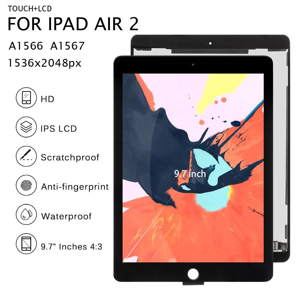 لباد Air 2 LCD A1567 A1566 عرض استبدال شاشة تعمل باللمس لباد 6 الهواء 2 LCD محول الأرقام مصفوفة الشاشة الجمعية الهواء 2 الجزء 2 الجزء 2