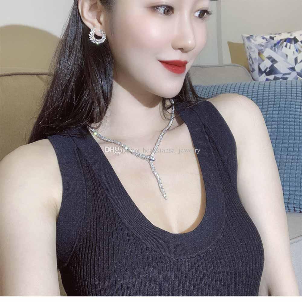 High-end luxuoso bola senhora colar festa recolhendo cobra nobre colar circular qualidade superior frete grátis broca de corpo inteiro