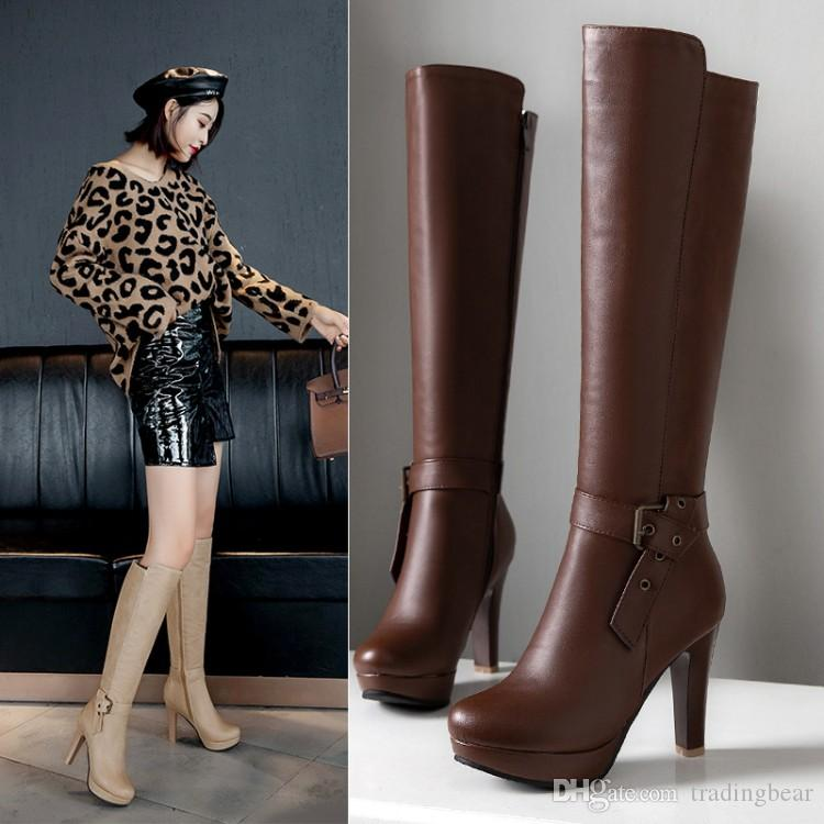 Plus size 34 to 40 41 42 43 sexy buckle thick heel knee high boots knight boots female luxury winter designer boots brown beige black