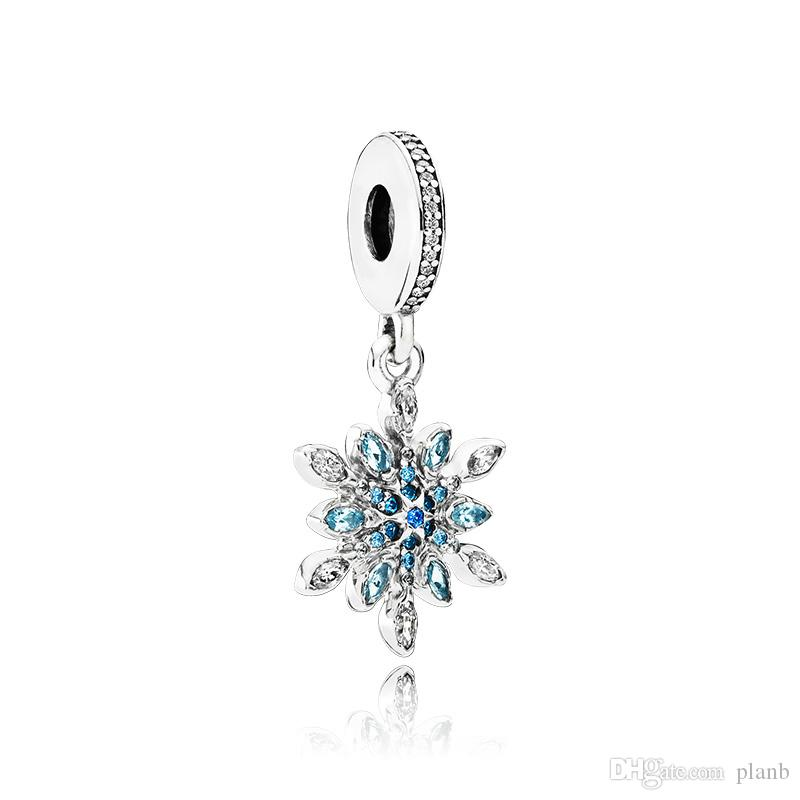 925 Sterling Silver Crystal Snow Pendentif Charmes Boîte de détail Barm Bead Bracelet Bracelet Collier Collier Bijoux Fabrication Charm