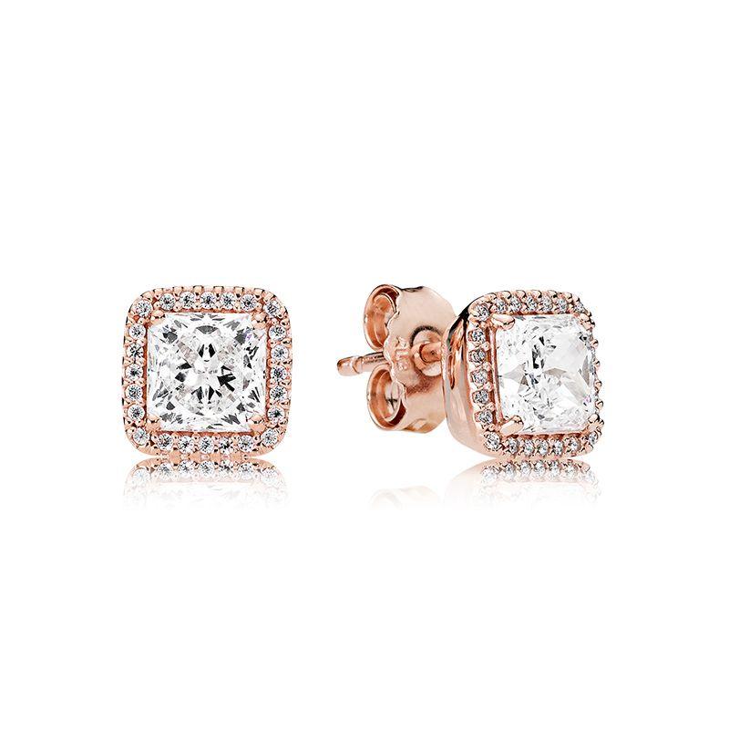For Box 925 Stone Stud Earring Original CZ 18K For Gold Silver Diamond Set Gold Rose Pandora Plated Wedding Earrings Square Women Dwohv