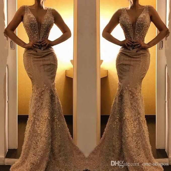 Champagne Appliqued Deep V Neck Evening Prom Dress Memriad Full Length Flower Formal Party Gown 2019 Sheath Pageant Abiti Custom Made