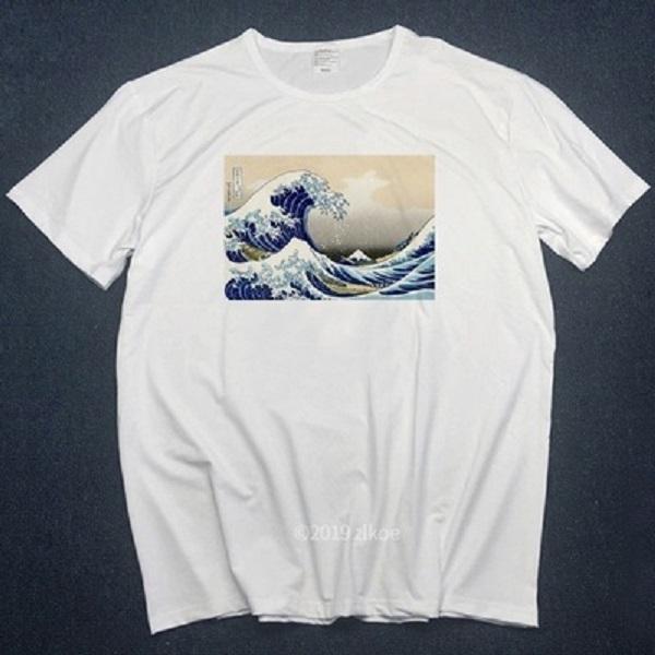 Nuevas camisetas del diseñador fuera de la gran ola de Bulldog Inglés camiseta para hombre T blanco camisas de las mujeres del verano más tapa del tamaño camiseta