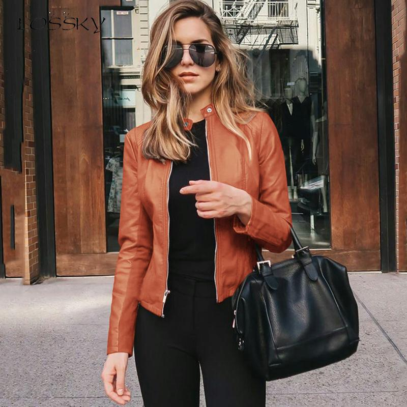 Lossky Cropped Stakes Spring Autumn Women Short PU Leather Clothes Solid Cardigan Coat Zips Outwear 2020 Blouson Feminina
