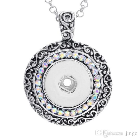 DHL 18mm DIY NOOSA Ginger Snap Button Pendants with Crystal Jewelry Interchangeable Jewerly for women without Chain