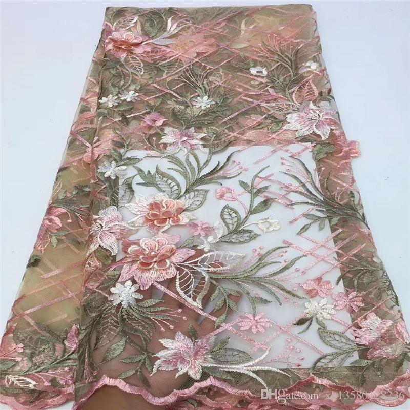 African Tulle Lace Fabric 2019 African French Lace Fabric High Quality With beads Stones Nigerian Embroidery Tulle French Lace